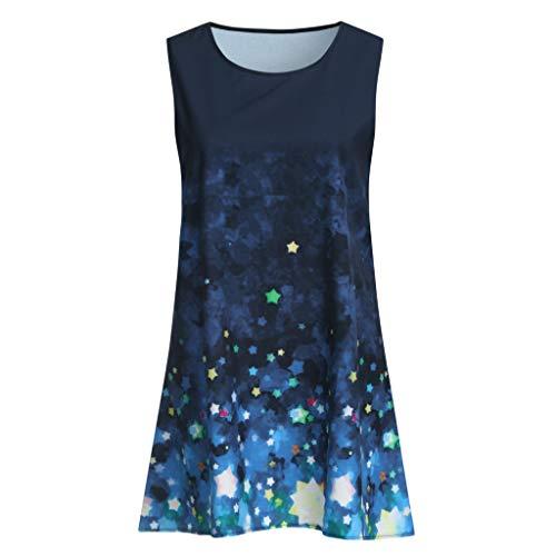 Women Shirt Dress Boho Fashion Printed Sleeveless O-Neck Beach Short Mini Dress Tops Shirt Dress for Women Plus Size by Funnygals (Image #2)