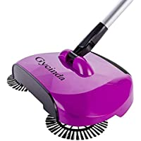 Gycinda Hand Push Home Floor and Carpet Sweeper without Electricity Dustpan and Trash Bin 3 in 1 (Purple)