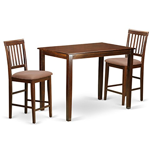 East West Furniture YAVN3-MAH-C 3 Piece Counter Height High Top Table and 2 Kitchen Chairs Set