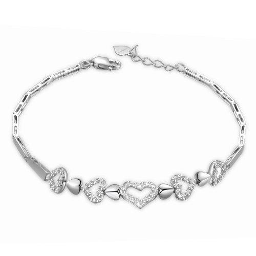En or blanc 14 carats Cœur avec finition polie et diamant Segment Bracelet (6,5