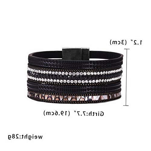 Mikash Fashion Women Multilayer Leather Magnet Wrap Cuff Charm Bracelet Jewelry Gifts | Model BRCLT - 12342 |