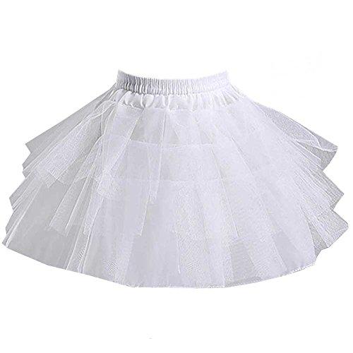 SlenyuBridal Girls 3 Layers Tulle Short Wedding Flower Girl Petticoat Slips Underskirt (One Size, White One)