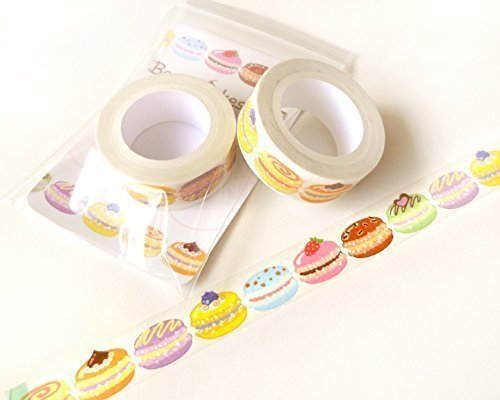 Macaron Washi Tape 10 Meters Washi Tape Roll Sample Washi Planner Decoration – Scrapbook Embellishment Happy Planner Food Stickers Planner Stickers Ri…