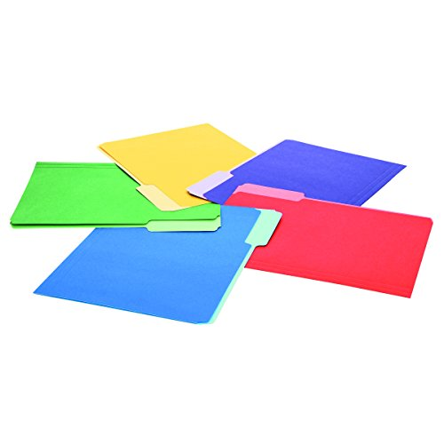 1/3 Cut Single - Universal 10506 File Folders, 1/3 Cut Single-Ply Top Tab, Letter, Assorted (Box of 100)
