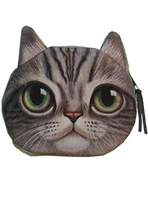 Enjoydeal Cute Lifelike Cat Face Bag Zipper Case Coin Money Purse Wallet Bag Pouch Handbag (Leopard Pattern)