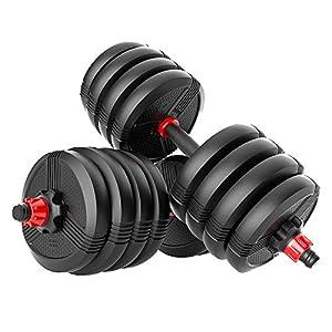 Well-Being-Matters 410bWsoPsWL._SS300_ RUNWE 60-70-80-90 lb Adjustable Dumbbell Set, weight dumbbells set barbell weight set adjustable weights set for home…