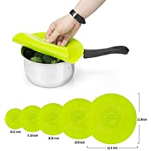 5PCS Silicone Food Covers Lids for Pans and Skillets Pots, Reusable Microwave Safe Cover Silicone Lid Suction Green ( 11.8, 10, 8, 6, 4 Inch )