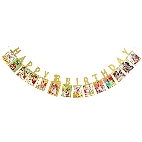 Happy 16th Birthday Sweet Sixteen 16 Years Photo Banner Gold Foiled for 16th Birthday Decoration Picture Bunting