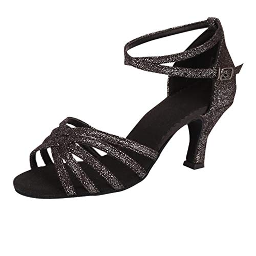 Toimothcn Womens Latin Shoes Ballroom Salsa Performance Dance Shoes High Chunky Heel ()