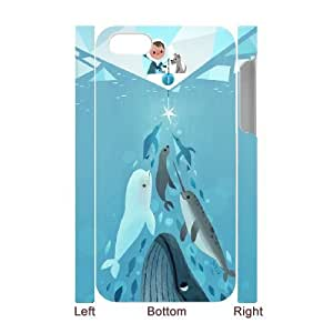 3D Fishing Penguins Whale Dolphins For Apple Iphone 5/5S Case Cover - White