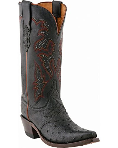 Lucchese Women's Augusta Full-Quill Ostrich Cowgirl Boot Snip Toe Black 5.5 M US