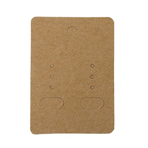 Paper Jewelry Earrings Ear Studs Display Cards Rectangle Light Coffee 7cm(2 6/8) x 5cm(2), 100 Sheets