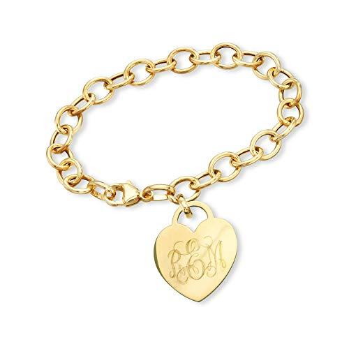 Ross-Simons Monogram Italian 14kt Yellow Gold Heart Charm Bracelet. 7