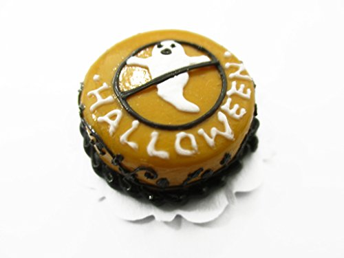 Dollhouse Miniatures Halloween Cake 2 cm Ghost Seasonal Handmade Supply 13982 -