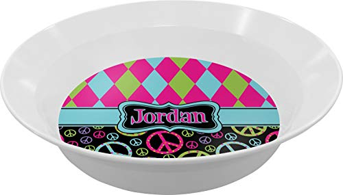 Harlequin & Peace Signs Melamine Bowl (Personalized)