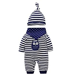 Baby Clothes 3 Pcs Romper Long Sleeve Stripe Jumpsuit with Hat & Drool Bibs