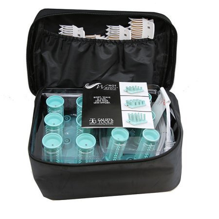 Calista Hot Wavers - Set Includes: Heating base , 12 Ionic Infusion Heated Rollers ,12 butterfly clips , 12 Snap Clips and a zippered travel bag