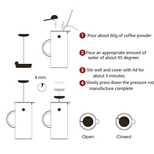 Coffee Pot Method Pressure Pot Coffee Pot Home Nordic Style French Filter Press Pot Teapot Capacity 1l by YQQ-Coffee Pot (Image #3)