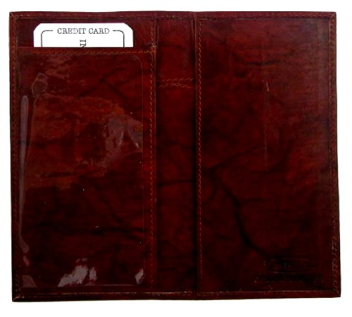 Genuine Leather Simple Check Book Holder style - mw156cf, Burgundy (Simple Checkbook Cover)