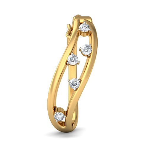 Or jaune 14 K 0.25 CT TW White-diamond (IJ | SI) Boucles d'oreilles créoles