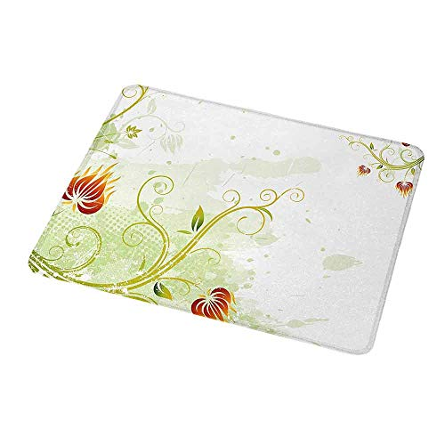 Mouse Pad Floral,Swirled Petals Lines on Grunge Background Retro Scroll Botany Design,Light Green Pistachio Ruby,Non-Slip Thick Rubber Mousepad Mat 9.8
