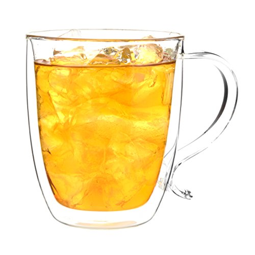 Large Tea Mugs - GROSCHE Cyprus Heatproof Insulating Double Walled Glass Mug - Large Capacity 500 ml, 16 fl. oz capacity Excellent Tea Mug or Coffee Mug