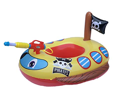 Big Summer Inflatable Pirate Boat Pool Float for Kids with Built-in Squirt Gun, Inflatable Ride-on for Kids Age 3-7
