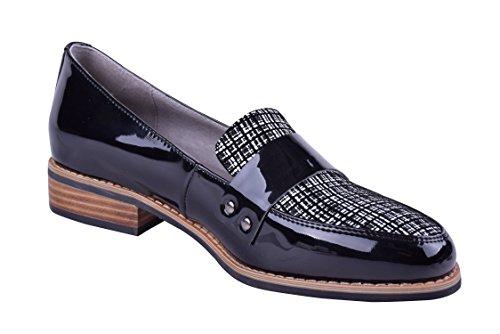 Størrelse 9-13 Kvinners Skinn Slip-on Loafers Elegante Komfortabel Kjole Flate Sko Bred Sort / Hvitt