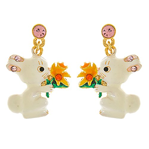 ACCESSORIESFOREVER Spring Easter Jewelry Crystal Cute Bunny Flower Fashion Dangle Earrings ()