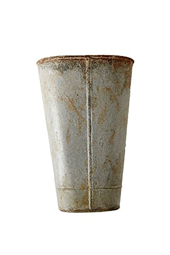 - Creative Co-op Metal Wall Bucket with Distressed Zinc Finish