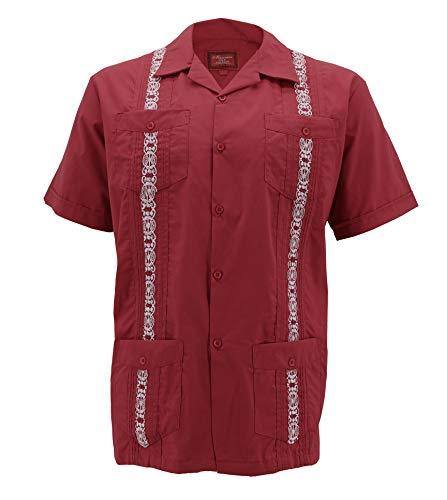 (vkwear Guayabera Men's Cuban Beach Wedding Short Sleeve Button-up Casual Dress Shirt (Red/White, XL))