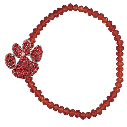 (Paw Print School Spirit Mascot Glass Beaded Stretch Bracelet - Assorted Colors (Red))