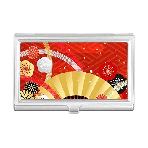 Folding Fan Sakura Geometry Pattern Business Card Holder Cas