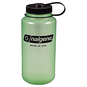 Nalgene Tritan Wide Mouth BPA-Free Water Bottle, Glows Green, One Size