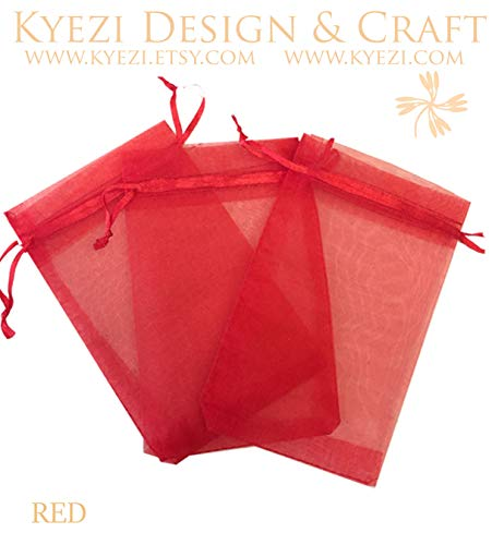- 200 Pcs Red 4x6 Sheer Drawstring Organza Bags Jewelry Pouches Wedding Party Favor Gift Bags Gift Bags Candy Bags [Kyezi Design and Craft]