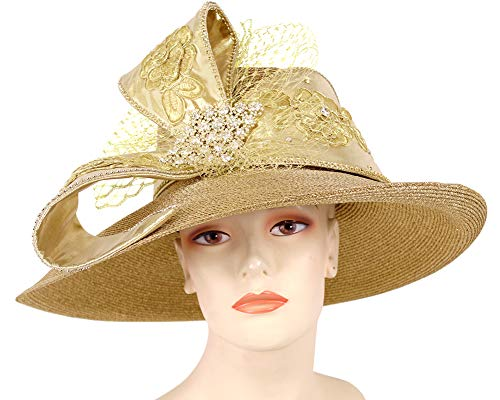 Ms. Divine Collection Women's Metallic Straw Dress Church Derby Hats - 93056 (Gold)