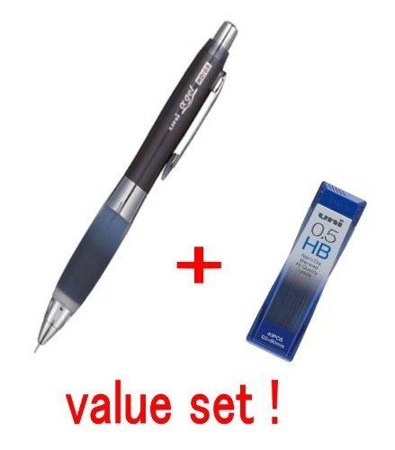 Uni-ball Alpha-gel Shaker Mechanical Pencil - Black - Slightly Firm Grip 0.5mm -(M5618gg1p.24) & Diamond Infused Leads [Nano Dia-40 Leads] Value Set(with Our Shop Original Description of Goods)