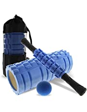 NUKVRYY Foam Roller Set 4 in 1 Massage Roller with Yoga Foam Roller, Muscle Roller Stick, Massage Ball with Carrying Bag, Gym Tools for Yoga, Stretching, Muscle Massage