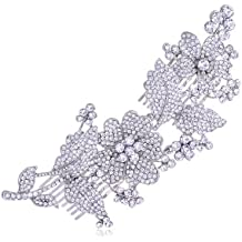 Alilang Silvery Tone Crystal Rhinestone Flower Leaf Bridal Long Hair Comb