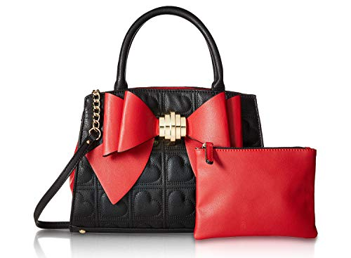 Betsey Johnson Evening (Betsey Johnson Women's Bow Satchel Black/Red One Size)