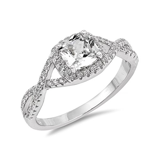 .925 Sterling Silver Asscher Cut April Birthstone CZ Intertwined Bridal Ring ()