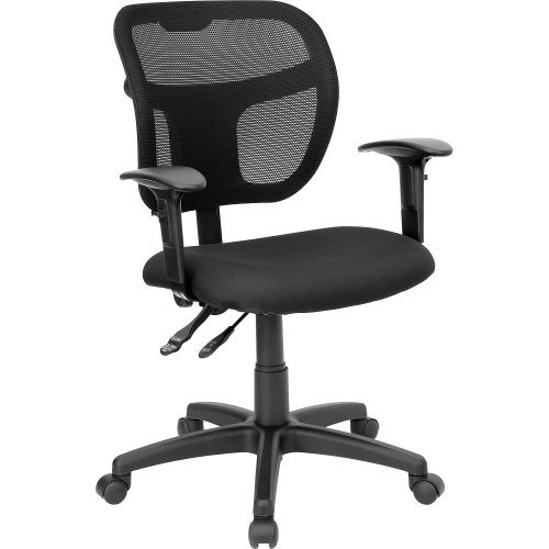 Flash Furniture Mid-Back Black Mesh Swivel Task Chair with Adjustable Arms