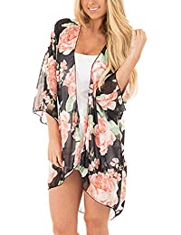 Women Floral Kimono Cardigan Loose Half Sleeve Shawl Chiffon Casual Open Front Cover up S-5XL