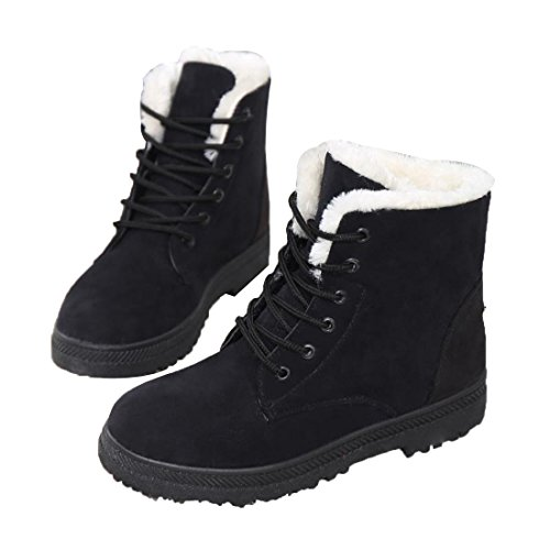 Faux Fur Lined Boots - Mostrin Winter Women's Lace Up Snow Boots Waterproof Warm Fur Lined Suede Flat Short Boots Black