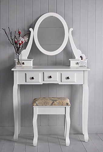 White 3-Piece Wood Make-Up Mirror Vanity Dresser Table and Stool Set with Chrome Knobs