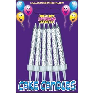 SILVER BIRTHDAY CAKE CANDLES HOLDERS 12 PER PACK