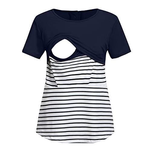 (Toponly Women Breastfeeding Shirt Striped Patchwork Short Sleeve Maternity Breastfeeding and Nursing Tops Navy)