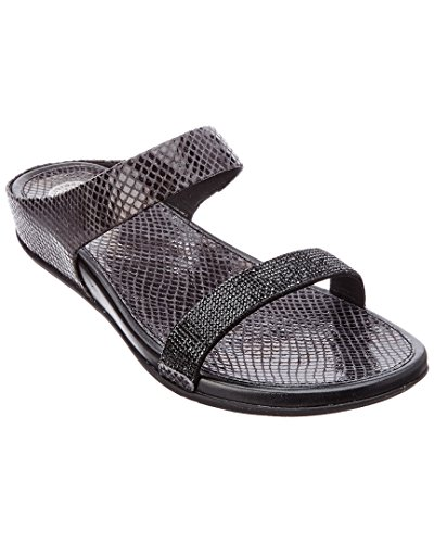 Fitflop Mujeres Banda Micro Serpiente Slide Sandalias De Cristal Negro UK4 Negro