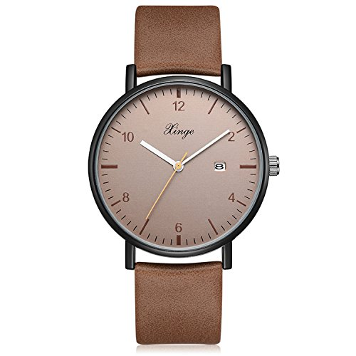 - Men's Analog Quartz Watch Leather Strap Classic Simple Design Date Wrist Watch (Brown)