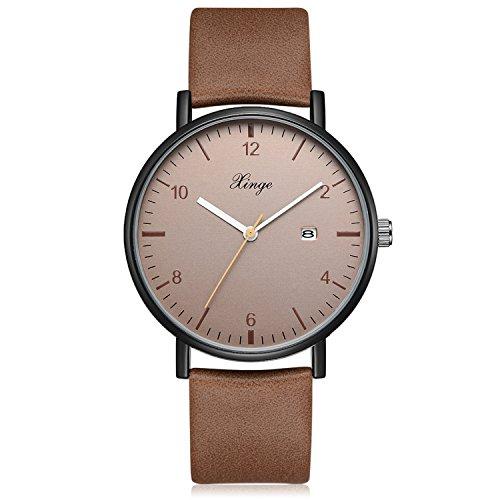 Men's Analog Quartz Watch Leather Strap Classic Simple Design Date Wrist Watch (Brown) (Strap Leather Quartz Mens)